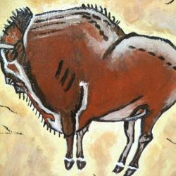 Bison - Rock painting