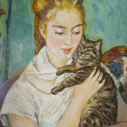 The girl with the cat