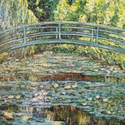 The japanese bridge and water lilies pond